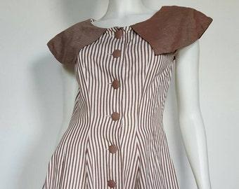 "50s Brown & White Vertical Stripe Dress | Large | 29-30"" Waist | Fit and Flare | Vintage VTG"