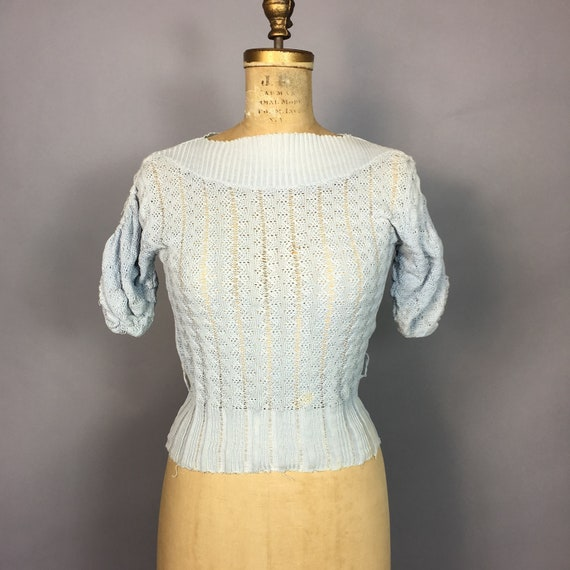 1940s Knit Puff Sleeve Sweater | Size Small | Bust
