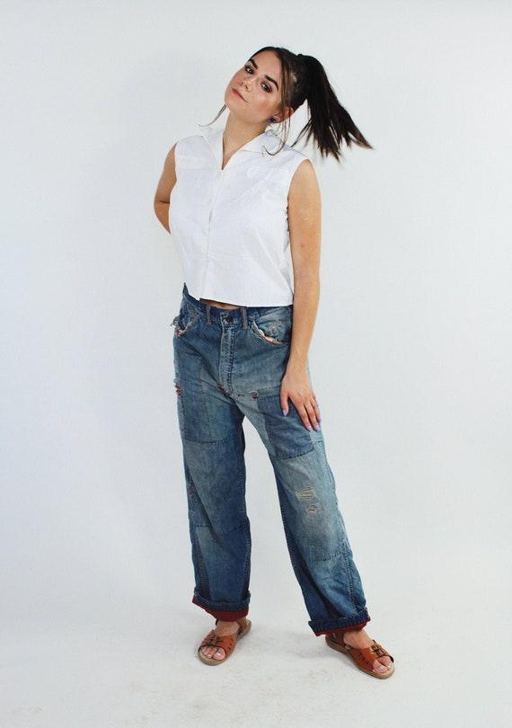 1950s Mens Patched Denim Jeans | Size Small | Wais