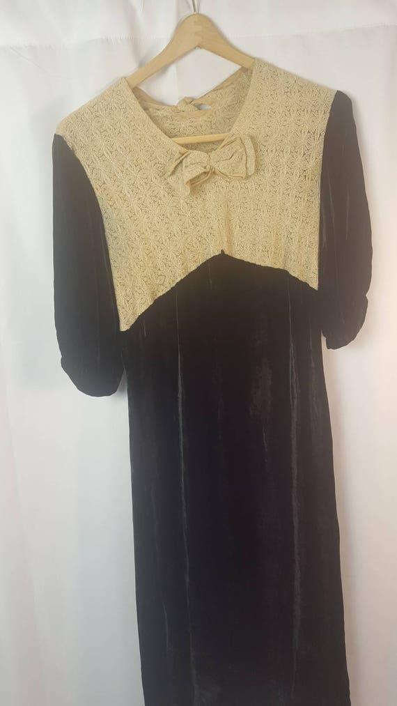 30s Black Velvet Dress | Knit Bodice | True Vintag