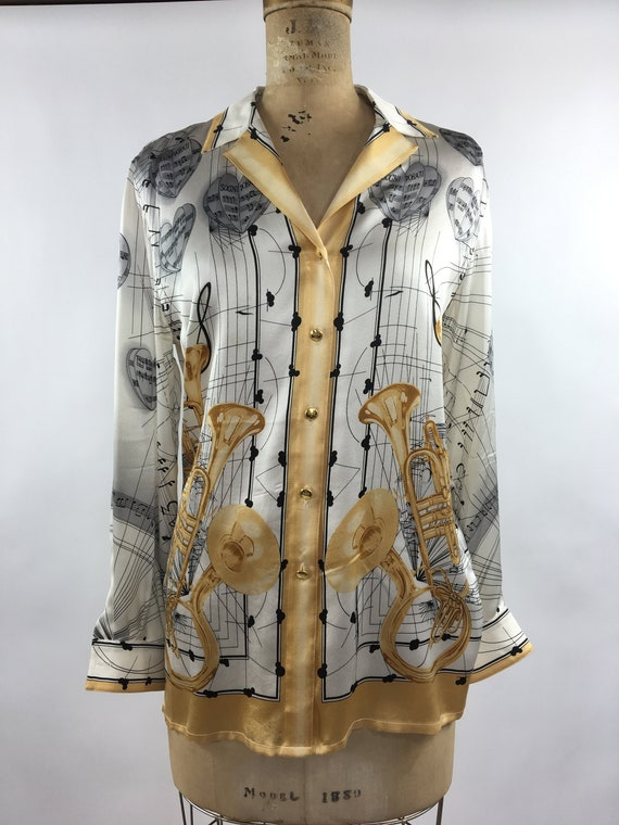 1980s White Silk Button-Down with Music Note Patte
