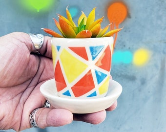 A little Kaleidoscope Planter w/dish for your cutest littlest plant - Ready to Ship