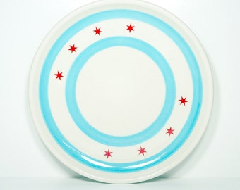 Made in Chicago porcelain Chicago Flagware platter decorated with the Chicago Flag design
