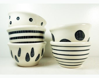 NEW. A Wonderful Wee Bowl Assortment simply finished in Black & White carved or painted motifs