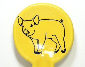 spoon rest in lemon butter with a piggy on it, made to order / pick your colour