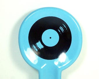 spoon rest with Vinyl Record print on Cloudless Blue READY to SHIP