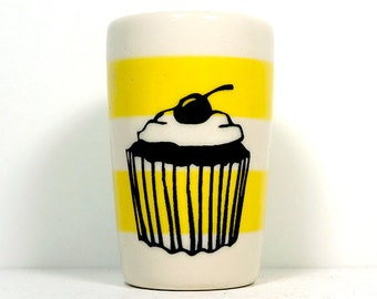 itty bitty cylinder / vase / cup with a cupcake print on lemon butter yellow stripes Made to Order/Pick Your Color
