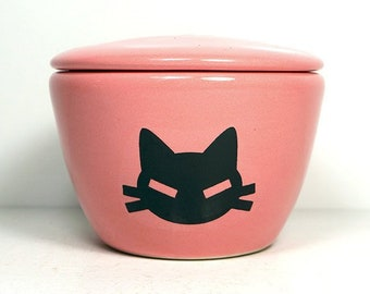 a lidded bowl / jar with a Cat Head print on Bubblegum Pink glaze. Made to Order/ Pick Your Color / Pick Your Print