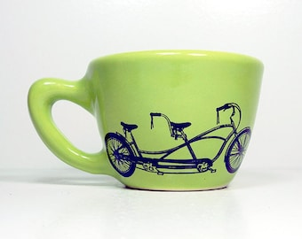 12oz Cup/Mug featuring a Tandem bike print, shown here on Tinda Green glaze - Pick Your Print/Pick Your Color