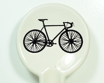 spoon rest w/a road bike print, shown on clear natural-Great Tour de France cyclocross bike race fan - Pick Your Color/Pick Your Print