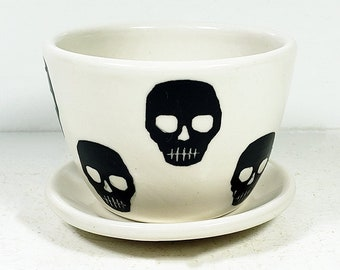Hey, a Planter for your cutest small plant, with Voodoo Skull prints - Pick Your Color!