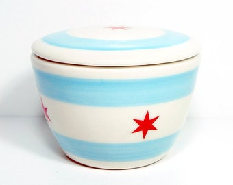 A Sweet Jar / Lidded Bowl w/the Chicago Flag design motif - Put your chocolates in here, or push pins, or spare change, or pet treats