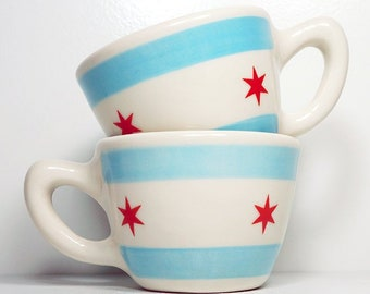 one (1) fabulous chicago flag 12oz cup/mug. Made to Order.