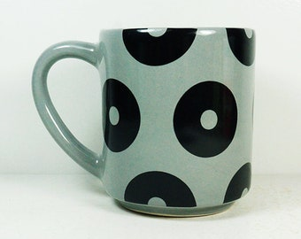 STACKABLE 15oz coffee mug/tea mug with the Big Ditty all-over pattern, shown here in Storm glaze. Pick Your Color.
