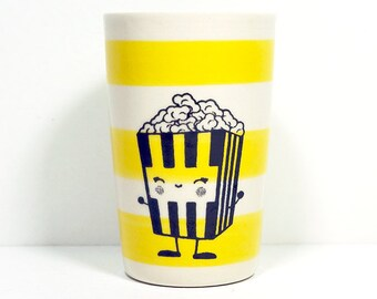 itty bitty cylinder / vase / cup with a happy popcorn print on lemon butter stripes, made to order / pick your color