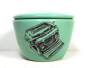 a lidded bowl / jar with an Underwood Typewriter print shown here on a Blue Green glaze - Made to Order/ Pick Your Color / Pick Your Print