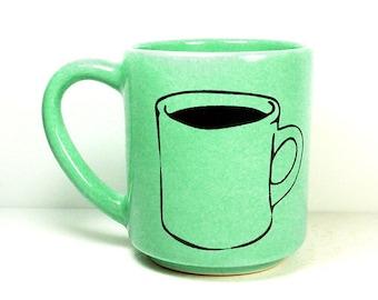 STACKABLE 15oz coffee mug/tea mug w/giant coffee/tea mug on both sides, shown here in Blue Green Mint glaze. Pick Your Print/Pick Your Glaze
