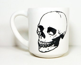 STACKABLE 15oz coffee mug/tea mug w/giant Badass Skull on both sides, shown here in White glaze. Made to Order / Pick Your Color