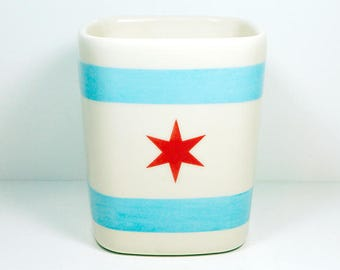 Chicago Flagware. NEW. Carefully Crafted Square Vessel /Utensil Holder/Vase of Awesome in a Chicago Flag theme