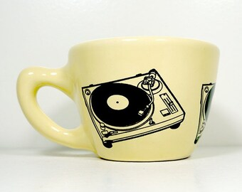 12oz cup/mug w/a Turntable print, shown here on Buttercream glaze - Pick Your Color / Pick Your Print