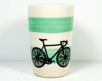 itty bitty cylinder / vase / cup with a road bike print on blue green stripes READY TO SHIP