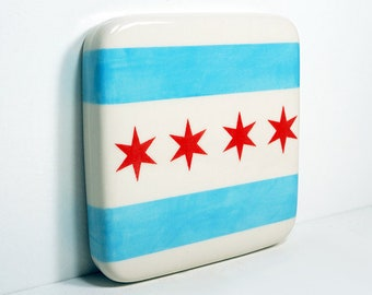 A Tile / Trivet with the Chicago Flag design - Hang it on your wall, use it for your hot Casseroles