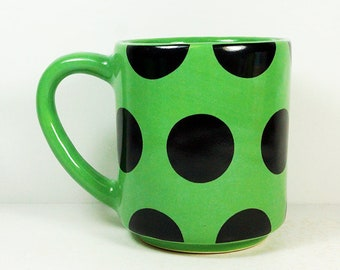 STACKABLE 15oz coffee mug/tea mug with the Big Dotty all-over pattern, shown here in Lucky glaze. Made to Order / Pick Your Color