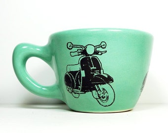 12oz cup w/ a Vespa Scooter print, seen here on Blue Green glaze - Pick Your Color