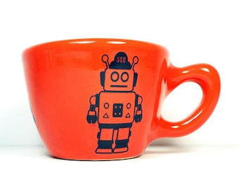 12oz cup/mug w/a Robot print, shown here on Clementine glaze - Pick Your Color