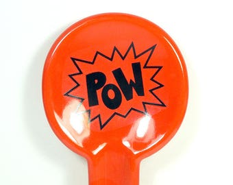 spoon rest with POW word print on Clementine Orange READY to SHIP