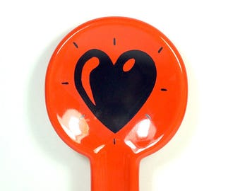 spoon rest with a Heart Throb print on Clementine Orange READY TO SHIP
