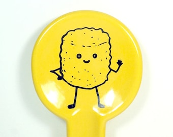 spoon rest with Mr. T. Tot Tater Tot print on Lemon Yellow READY TO SHIP