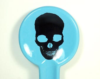 spoon rest with a Dark Skull on Cloudless Blue READY TO SHIP