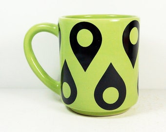 STACKABLE 15oz coffee mug/tea mug with the Location all-over pattern, shown here in Tinda glaze. Made to Order.