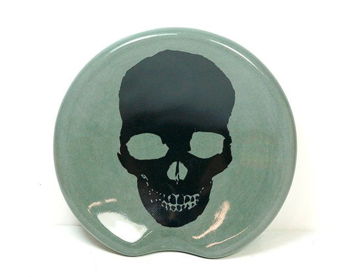 Featured listing image: Handle-less Spoon Rest / Spoon Dish with a Dark Skull print shown on Storm Grey. Pick Your Color/Pick Your Print