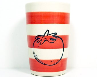 itty bitty cylinder striped red-orange with a tomato print, made to order / pick your color