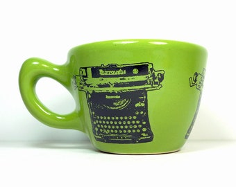 12oz Cup/Mug with a Burroughs typewriter print, shown here on Avocado Green glaze. Pick Your Color/Pick Your Print