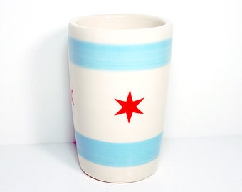 18oz smoothies/coffee/beer/water tumbler with the Chicago flag. Made to Order