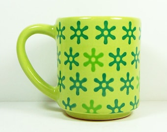 STACKABLE 15oz coffee mug/tea mug with the Betty all-over pattern, shown here in Tinda glaze. Made to Order.