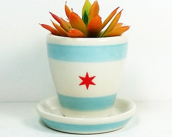 NEW. 1 Small Batch Planter for your cute little plant, in the Chicago Flag motif