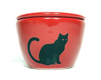 a lidded bowl / jar with a Black Cat silhouette print shown here on a Berry Red glaze, Made to Order / Pick Your Color / Pick Your Print