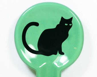 A Spoon Rest shown here glazed in Blue Green with a Black Cat print. Pick Your Color/Pick Your Print