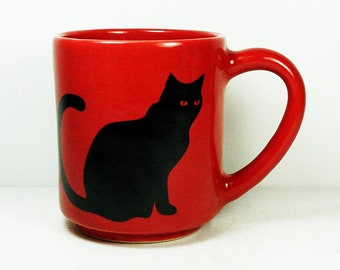 STACKABLE 15oz coffee mug/tea mug shown here w/giant Black Cats on 2 sides on Berry Red glaze. Pick Your Print/Pick Your Glaze