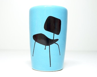 itty bitty cylinder / vase / cup with an Eames chair print on cloudless blue - Made to Order / Pick Your Color