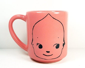 STACKABLE 15oz coffee mug/tea mug w/giant Kewpie heads on 2 sides, shown here in Bubblegum glaze. Made to Order/Pick Your Glaze/Print