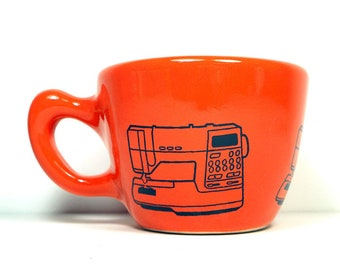 12oz Cup/Mug with a Viking Sewing Machine print, shown on Clementine Orange glaze. Pick Your Color/Pick Your Print
