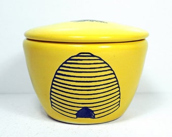 a lidded bowl / jar with a Bee Hive print shown here on a Lemon Butter yellow glaze - Made to Order/ Pick Your Color / Pick Your Print