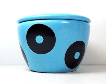 a lidded bowl / jar with the Dotty print shown here on a Cloudless glaze - Made to Order/ Pick Your Color