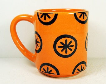 STACKABLE 15oz coffee mug/tea mug with the Asterisk all-over pattern, shown here in Creamsicle glaze. Made to Order / Pick Your Color