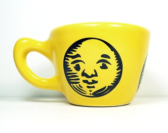 12oz cup with a Luna (Moon) print, shown here on Lemon Butter Yellow glaze -  Pick Your Color/Pick Your Print